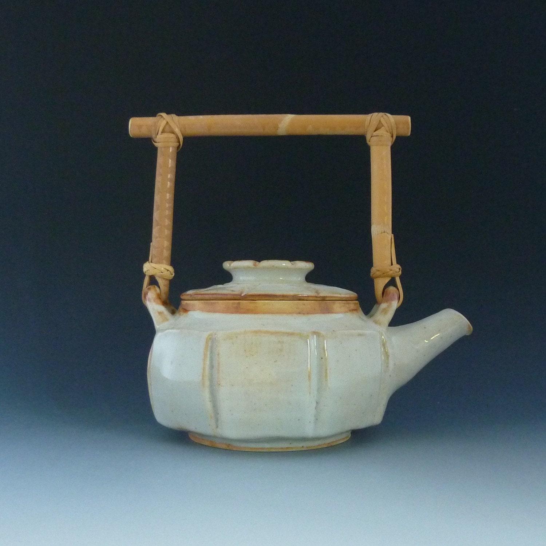 Shino teapot with bamboo handle - Bamboo teapot handles ...