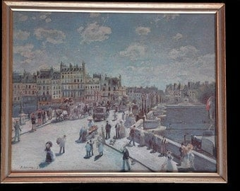Vintage Pont Neuf --Pierre-Auguste Renoir 1872 (PRINT sold in the 1960s)