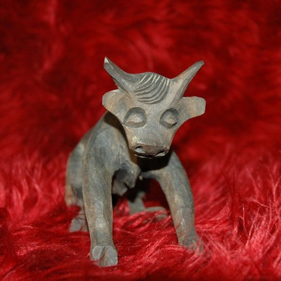 Mid Century Spanish Bull --Hand Carved--SHIPPING REDUCED