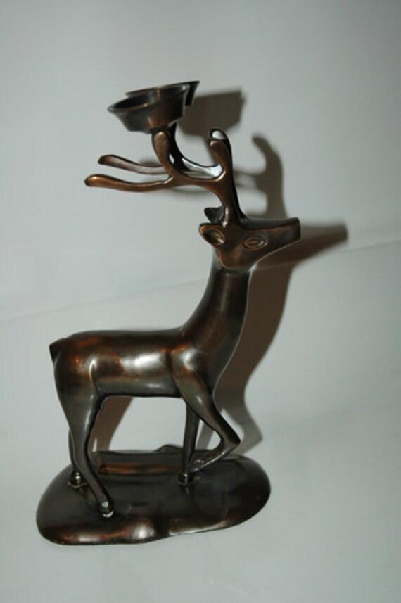 Vintage Copper Reindeer Candelholder--Price Reduced