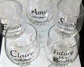 SINGLE DIY Wedding Bride and Bridesmaid Wine Glasses Vinyl Decals diy Glasses NOT Included.