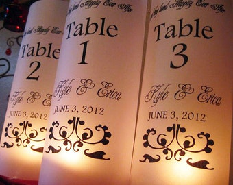 Luminary Wedding Table Numbers,  Personalized Wedding Table Numbers,  Happily Every After, Set of 12..