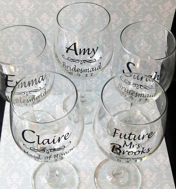 SINGLE DIY Wedding Bride And Bridesmaid Wine Glasses Vinyl - Custom vinyl decals for wine glasses