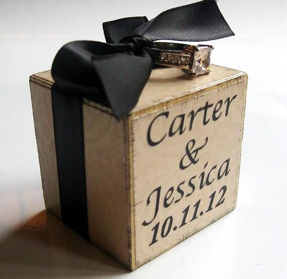 ring bearer block personalized monogram wedding keepsake. Black Bedroom Furniture Sets. Home Design Ideas