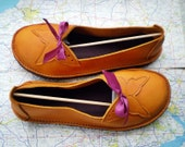 UK 7, Handmade shoes, butterfly, PUMPKIN antiqued leather, FLUTTERBY, 1359
