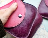 Handmade leather coin purse, Pink dragon leather MINNIE 188345