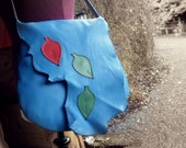 Handmade Leather Large bag, in Pacific Blue leather with fairy leaves, by Fairysteps POD 1945