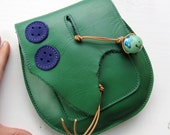Handmade Leather clutch Purse, Bag, Emerald leather, peacock buttons RUSBY by Fairysteps 2136