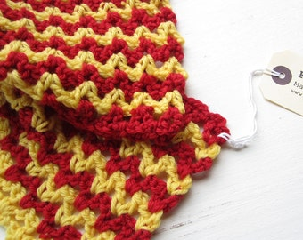 RICRAC Crochet scarf, in mustard and poppy by Fairysteps 2136 SALE