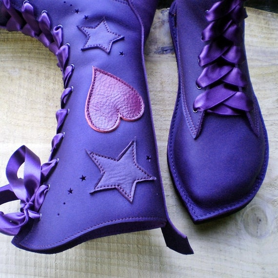 UK 7, Handmade leather Tall Bohemian Fairytale boots, D fitting, Violet, Pink Dragon, MOONSHINE by Fairysteps 1926