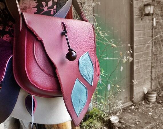 Handmade LARGE Leather bag, Satchel, Leaf detail, Dark Berry, GYPSY 1939