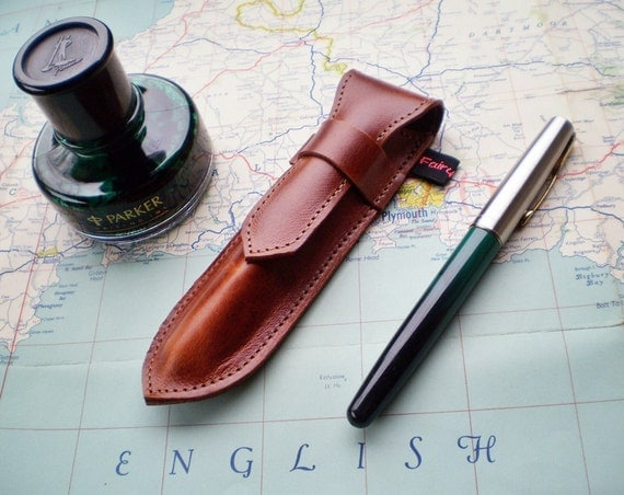 Handmade Leather Pen Case, Fountain pen case, Polished Nut NIB