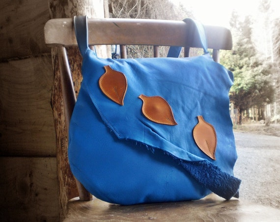 Handmade Leather Large bag, in Pacific Blue leather with fairy leaves, by Fairysteps POD 1954