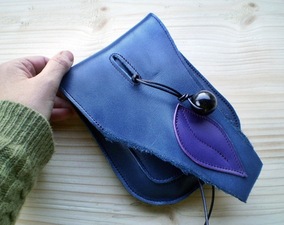 Handmade leather hip pouch, belt bag, Bohemian Fairy, Inky blue, JINKS by Fairysteps 1994