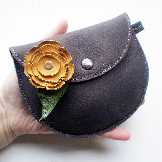 Handmade Leather clutch Purse, Bag, Weathered Oak leather, PIPKIN ragglebloom by Fairysteps 2126