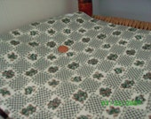 Vintage  Cotton Quilt Fabric Green Floral in Squares on  White 16 x 22