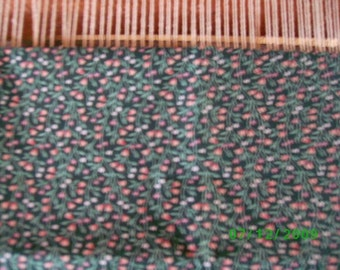 Cotton Quilt Fabric Rose Floral on DK. Green Backgound
