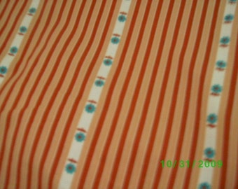 Vintage Cotton Feed Sack  Terra Cotta Stripe on Taupe with Turquoise Flowers