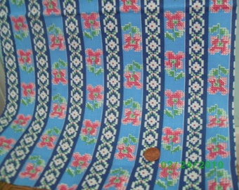 Vintage  Cotton Quilt Fabric Cross Stitch Floral On Blue Stripe Feedsack Print