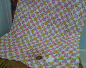 Vintage Cotton Quilt Fabric  Lilac Pink Yellow Floral on White Feedsack Print
