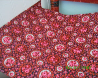 Vintage Cotton Quilt Fabric  Pink & Rose Floral on Black