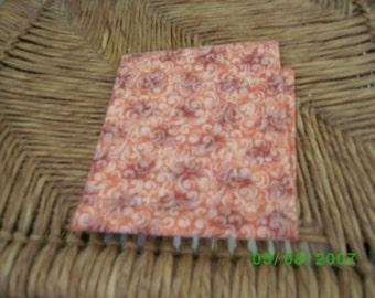 Vintage Cotton Quilt Fabric , Terra Cotta & Cream on a Pumpkin Background