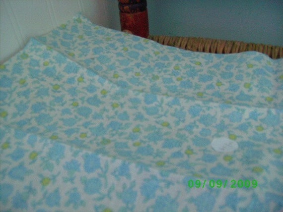 Vintage Cotton Fabric  Blue & Lime Floral on White Feedsack print