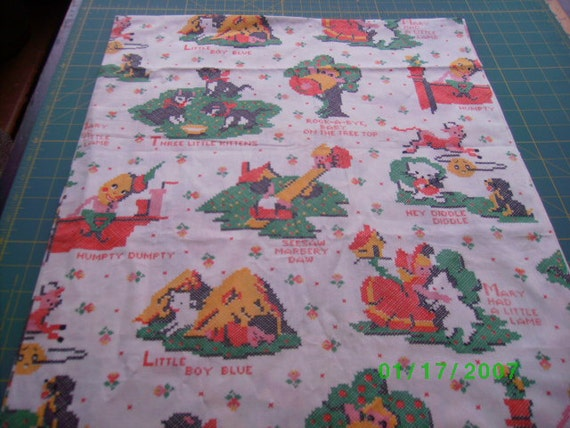 Childrens vintage novelty fabric nursery rhymes by for Retro nursery fabric