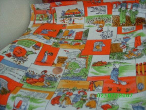 Childrens vintage novelty fabric mother goose by keepsakewool for Vintage childrens fabric