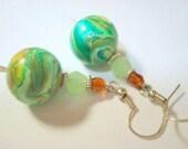 Marbled Greens Handmade Polymer Clay Earrings
