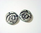 Puppies - Handmade Black and Silver Polymer Clay Focal Beads