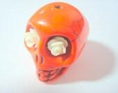 Gigantic Orange Howlite Skull Bead or Pendant  with Ivory Roses in Eyes
