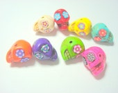 The Rainbow Collection of 8 Horizontally Drilled Howlite Sugar Skull Beads 13mm