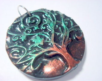 Green and Bronze Twirling Yggdrasil Tree of Life Handmade Polymer Clay Pendant or Focal Bead
