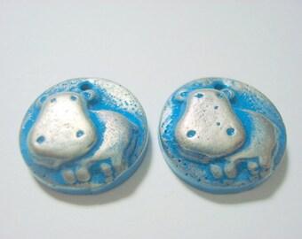 Happy Little Hippos Handmade Polymer Clay Focal Beads