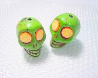 Orange Limeade Green Howlite Skull Beads