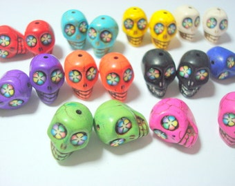 Bright Color Flower Eyes Colorful Howlite 18mm Skull Beads-Variety Lot of Ten Pairs