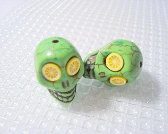 Lemon Lime Howlite Skull Dia De Los Muertos Beads