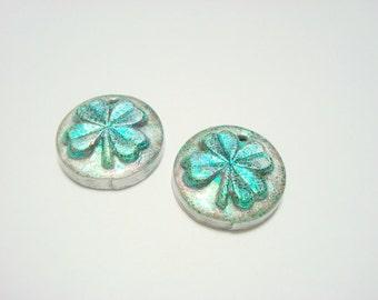 Luck of the Irish Four Leaf Clovers - Handmade Polymer Clay Focal Beads