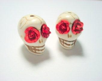 Red Rose Eyes Ivory Howlite Skull Beads