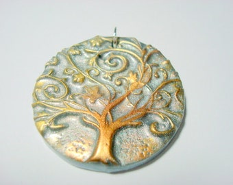 Silver Twirly Tree of Life Handmade Polymer Clay Pendant