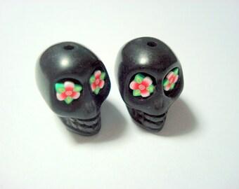 Red Flower Eyes in Black Day of The Dead Skull Beads