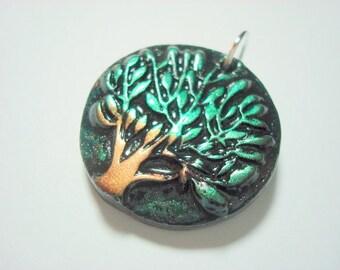 Green and Black Metallic Leafy Tree of Life Handmade Polymer Clay Pendant