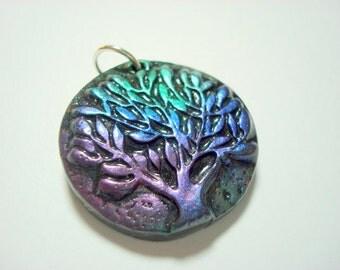 Black Magic Metallic Leafy Tree of Life Handmade Polymer Clay Pendant