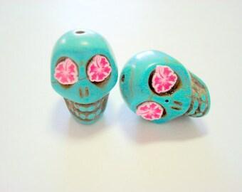 Pink Hawaiian Hibiscus in Turquoise Howlite Skull Beads