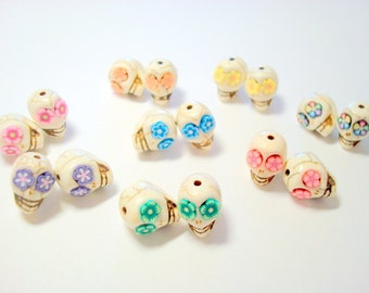 Every Color Rainbow Flower Howlite Skull 12mm Beads-Variety of Eight Pairs