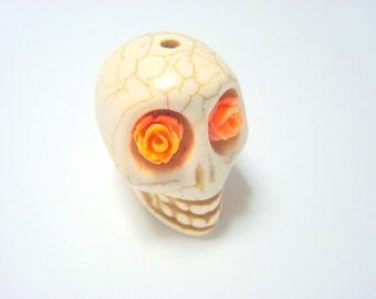 Gigantic Ivory Howlite Skull Bead or Pendant  with Orange Roses in Eyes
