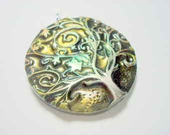 Twirly Tree of Life Green Yggdrasil Handmade Polymer Clay Pendant