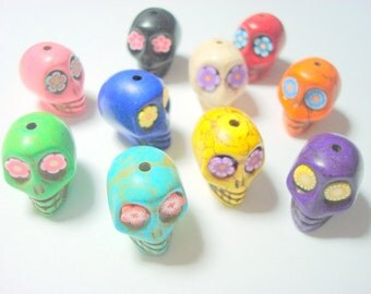 Rainbow Variety of  20mm Howlite Sugar Skull Beads