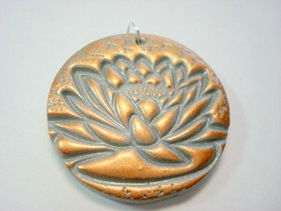 Silver Copper Blossoming Lotus Handmade Polymer Clay Pendant